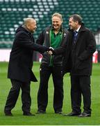 17 March 2018; England head coach Eddie Jones, left, and Ireland head coach Joe Schmidt with World Rugby High Performance Match Official Manager Alain Rolland prior to the NatWest Six Nations Rugby Championship match between England and Ireland at Twickenham Stadium in London, England. Photo by Brendan Moran/Sportsfile