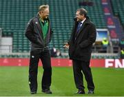 17 March 2018; Ireland head coach Joe Schmidt, left, with World Rugby High Performance Match Official Manager Alain Rolland prior to the NatWest Six Nations Rugby Championship match between England and Ireland at Twickenham Stadium in London, England. Photo by Brendan Moran/Sportsfile