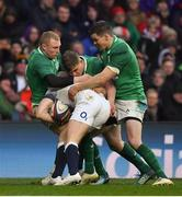 17 March 2018; Ireland players Keith Earls, Garry Ringrose and Jonathan Sexton tackle Mike Brown of England during the NatWest Six Nations Rugby Championship match between England and Ireland at Twickenham Stadium in London, England. Photo by Brendan Moran/Sportsfile