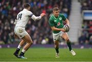 17 March 2018; Jordan Larmour of Ireland in action against Jonny May of England during the NatWest Six Nations Rugby Championship match between England and Ireland at Twickenham Stadium in London, England. Photo by Brendan Moran/Sportsfile