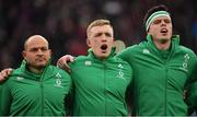 17 March 2018; Ireland players, from left, Rory Best, Dan Leavy and James Ryan stand for the national anthem prior to the NatWest Six Nations Rugby Championship match between England and Ireland at Twickenham Stadium in London, England. Photo by Brendan Moran/Sportsfile