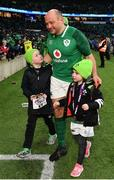 17 March 2018; Rory Best of Ireland with children Ben and Penny following the NatWest Six Nations Rugby Championship match between England and Ireland at Twickenham Stadium in London, England. Photo by Ramsey Cardy/Sportsfile
