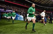 17 March 2018; Ireland captain Rory Best leads his side out prior to the NatWest Six Nations Rugby Championship match between England and Ireland at Twickenham Stadium in London, England. Photo by Brendan Moran/Sportsfile