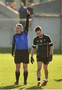 19 March 2018; Referee James Molloy sends off Stephen Coen of Sligo during the Allianz Football League Division 3 Round 6 match between Offaly and Sligo at Bord Na Mona O'Connor Park in Tullamore, Offaly  Photo by Matt Browne/Sportsfile