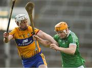 19 March 2018; Seamus Flanagan of Limerick in action against Conor Cleary of Clare during the Allianz Hurling League Division 1 quarter-final match between Limerick and Clare at the Gaelic Grounds in Limerick.  Photo by Diarmuid Greene/Sportsfile