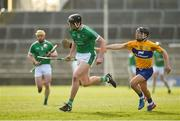 19 March 2018; Gearoid Hegarty of Limerick in action against David Reidy of Clare during the Allianz Hurling League Division 1 quarter-final match between Limerick and Clare at the Gaelic Grounds in Limerick.  Photo by Diarmuid Greene/Sportsfile