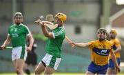19 March 2018; Tom Morrissey of Limerick in action against David Reidy of Clare during the Allianz Hurling League Division 1 quarter-final match between Limerick and Clare at the Gaelic Grounds in Limerick.  Photo by Diarmuid Greene/Sportsfile