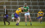 19 March 2018; Gearoid Hegarty of Limerick tussles off the ball with Jack Browne of Clare during the Allianz Hurling League Division 1 quarter-final match between Limerick and Clare at the Gaelic Grounds in Limerick.  Photo by Diarmuid Greene/Sportsfile