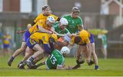 19 March 2018; Limerick and Clare players tussle off the ball during the Allianz Hurling League Division 1 quarter-final match between Limerick and Clare at the Gaelic Grounds in Limerick.  Photo by Diarmuid Greene/Sportsfile