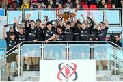 19 March 2018; John McKee of Campbell College lifts the trophy after the Ulster Schools Cup Final 2018 match between Royal School Armagh and Campbell College at Kingspan Stadium, in Ravenhill Park, Belfast. Photo by John Dixon/Sportsfile