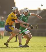 19 March 2018; Aaron Gillane of Limerick in action against Conor Cleary of Clare during the Allianz Hurling League Division 1 quarter-final match between Limerick and Clare at the Gaelic Grounds in Limerick. Photo by Diarmuid Greene/Sportsfile