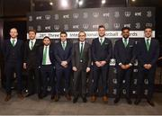 18 March 2018; Republic of Ireland manager Martin O'Neill, in the centre, is joined with from left, Aaron McCarty, Jeff Hendrick, Alan Judge, Seamus Coleman, Kevin Long, Cyrus Christy and Declan Rice during the 3 FAI International Awards at RTE Studios in Donnybrook, Dublin. Photo by Seb Daly/Sportsfile