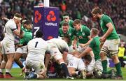 17 March 2018; Ireland players celebrate a try by CJ Stander during the NatWest Six Nations Rugby Championship match between England and Ireland at Twickenham Stadium in London, England. Photo by Ramsey Cardy/Sportsfile