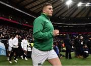 17 March 2018; Jordan Larmour of Ireland runs out prior to the NatWest Six Nations Rugby Championship match between England and Ireland at Twickenham Stadium in London, England. Photo by Brendan Moran/Sportsfile