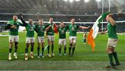 17 March 2018; Ireland players, from left, Conor Murray, Bundee Aki, Garry Ringrose, Jonathan Sexton, Jordi Murphy, James Ryan and Dan Leavy celebrate after the NatWest Six Nations Rugby Championship match between England and Ireland at Twickenham Stadium in London, England. Photo by Brendan Moran/Sportsfile