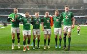 17 March 2018; Ireland players, from left, Conor Murray, Bundee Aki, Garry Ringrose, Jonathan Sexton, Jordi Murphy, and James Ryan celebrate after the NatWest Six Nations Rugby Championship match between England and Ireland at Twickenham Stadium in London, England. Photo by Brendan Moran/Sportsfile