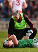 18 March 2018; Cillian O'Connor of Mayo receives treatment from Mayo team doctor Dr.Sean Moffatt during the Allianz Football League Division 1 Round 6 match between Mayo and Tyrone at Elverys MacHale Park in Castlebar, Co. Mayo. Photo by Sam Barnes/Sportsfile