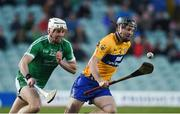 19 March 2018; Jack Browne of Clare in action against Barry O'Connell of Limerick during the Allianz Hurling League Division 1 quarter-final match between Limerick and Clare at the Gaelic Grounds in Limerick.  Photo by Diarmuid Greene/Sportsfile