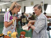 20 March 2018; Cork's Bríd Stack with Sister Louise Horgan, as they visit a workshop for local people. Sister Horgan is an Irish missionary, originally from Cork, and third cousin to eleven-time All-Ireland Ladies Senior Football title winner Briege Corkery of Cork. She is the founder of the Good Shepherd Sisters in Bangkok that run the Fatima Centre, where she has been working with disadvantaged local people, orphans and migrants for over fifty years. Helping them to gain an education along with work and life skills. Pictured during the TG4 Ladies Football All-Star Tour 2018 in Bangkok, Thailand. Photo by Piaras Ó Mídheach/Sportsfile