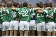3 August 2003; The Fermanagh players stand together in a huddle before the game. Bank of Ireland All-Ireland Senior Football Championship Quarter Final, Tyrone v Fermanagh, Croke Park, Dublin. Picture credit; Brendan Moran / SPORTSFILE *EDI*