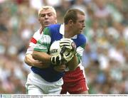 3 August 2003; Ronan Gallagher, Fermanagh, in action against Tyrone's Eoin Mulligan. Bank of Ireland All-Ireland Senior Football Championship Quarter Final, Tyrone v Fermanagh, Croke Park, Dublin. Picture credit; Brendan Moran / SPORTSFILE *EDI*
