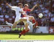 10 August 2003; Tony McCarthy, Shelbourne, in action against Leeds United's James Milner. Dublin Tournament 3rd place Play-Off, Leeds United v Shelbourne, Tolka Park, Dublin. Picture credit; Matt Browne / SPORTSFILE *EDI*