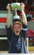 10 August 2003; UCD captain Sylvia Gee lifts the cup after victory over Lifford. FAI National Women's Cup final, UCD v Lifford, Richmond Park, Dublin. Picture credit; Pat Murphy / SPORTSFILE