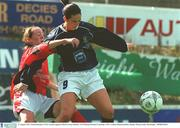 10 August 2003; Carmel Kissane, UCD, in action against Lifford's Louise Henchy. FAI National Women's Cup final, UCD v Lifford, Richmond Park, Dublin. Picture credit; Pat Murphy / SPORTSFILE