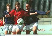 10 August 2003; Selina Moylan, Lifford, in action against UCD's Rosie Power. FAI National Women's Cup final, UCD v Lifford, Richmond Park, Dublin. Picture credit; Pat Murphy / SPORTSFILE