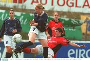 10 August 2003; Caroline Thorpe, UCD, in action against Lifford's Amy O'Keeffe. FAI National Women's Cup final, UCD v Lifford, Richmond Park, Dublin. Picture credit; Pat Murphy / SPORTSFILE