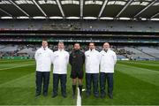 17 March 2018: Referee David Gough and his umpires prior to the AIB GAA Football All-Ireland Senior Club Championship Final match between Corofin and Nemo Rangers at Croke Park in Dublin. Photo by Stephen McCarthy/Sportsfile