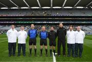 17 March 2018: Referee David Gough and his officials prior to the AIB GAA Football All-Ireland Senior Club Championship Final match between Corofin and Nemo Rangers at Croke Park in Dublin. Photo by Stephen McCarthy/Sportsfile