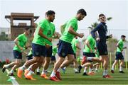 20 March 2018; Cyrus Christie, left, Shane Long, centre, and Declan Rice during Republic of Ireland squad training at Regnum Sports Centre in Belek, Turkey. Photo by Stephen McCarthy/Sportsfile