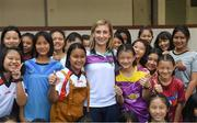 20 March 2018; Galway's Sinéad Burke with orphans during a visit to Sister Horgan who is an Irish missionary, originally from Cork, and third cousin to eleven-time All-Ireland Ladies Senior Football title winner Briege Corkery of Cork. She is the founder of the Good Shepherd Sisters in Bangkok that run the Fatima Centre, where she has been working with disadvantaged local people, orphans and migrants for over fifty years. Helping them to gain an education along with work and life skills. Pictured during the TG4 Ladies Football All-Star Tour 2018 in Bangkok, Thailand. Photo by Piaras Ó Mídheach/Sportsfile
