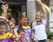 20 March 2018; Cork's Bríd Stack with orphans during a visit to Sister Horgan who is an Irish missionary, originally from Cork, and third cousin to eleven-time All-Ireland Ladies Senior Football title winner Briege Corkery of Cork. She is the founder of the Good Shepherd Sisters in Bangkok that run the Fatima Centre, where she has been working with disadvantaged local people, orphans and migrants for over fifty years. Helping them to gain an education along with work and life skills. Pictured during the TG4 Ladies Football All-Star Tour 2018 in Bangkok, Thailand. Photo by Piaras Ó Mídheach/Sportsfile