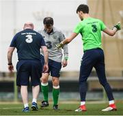 20 March 2018; Assistant manager Roy Keane, centre, equipment manager Dick Redmond and goalkeeper Kieran O'Hara replace pieces of turf during Republic of Ireland squad training at Regnum Sports Centre in Belek, Turkey. Photo by Stephen McCarthy/Sportsfile