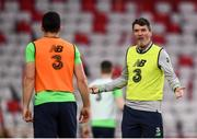 22 March 2018; Assistant manager Roy Keane speaks to Enda Stevens during a Republic of Ireland training session at Antalya Stadium in Antalya, Turkey. Photo by Stephen McCarthy/Sportsfile