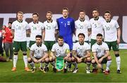 23 March 2018; The Republic of Ireland team, back row, from left to right, James McClean, Alan Browne, Conor Hourihane, Colin Doyle, Kevin Long, Shane Duffy and Declan Rice. Front row, from left to right, Sean Maguire, Seamus Coleman, Jeff Hendrick and Scott Hogan prior to the International Friendly match between Turkey and Republic of Ireland at Antalya Stadium in Antalya, Turkey. Photo by Stephen McCarthy/Sportsfile