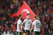 23 March 2018; Declan Rice, centre, Alan Judge, left, and Daryl Horgan of Republic of Ireland following the International Friendly match between Turkey and Republic of Ireland at Antalya Stadium in Antalya, Turkey. Photo by Stephen McCarthy/Sportsfile