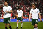 23 March 2018; Declan Rice and his Republic of Ireland team-mates Jeff Hendrick, left, and Daryl Horgan, right, following the International Friendly match between Turkey and Republic of Ireland at Antalya Stadium in Antalya, Turkey. Photo by Stephen McCarthy/Sportsfile