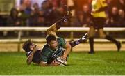 23 March 2018; Tom Farrell of Connacht scores his side's second try despite the efforts of Chris Dean of Edinburgh during the Guinness PRO14 Round 18 match between Connacht and Edinburgh at the Sportsground in Galway. Photo by Diarmuid Greene/Sportsfile