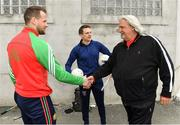 23 March 2018; Two-time Superbowl winning coach, Rob Ryan, Seattle Seahawks' Earl Thomas, New York Giants' Landon Collins and Baltimore Ravens' Alex Collins, touched down in Dublin today for the NFL UK Live event, presented by Subway®. As part of their visit, Earl, Landon and Alex – accompanied by Rob Ryan and the Vince Lombardi trophy – put their athleticism to the test today at Dublin's Clanna Gael Fontenoy GAA Club, where hurling legend Jackie Tyrell, and Dublin football legend attempted to teach them the skills of our national sports. The NFL UK Live event, presented by Subway®, will take place tomorrow (Saturday, 24th March) at Dublin's Convention Centre – where Rob, Earl, Landon and Alex will also be joined by the Philadelphia Eagles' Jay Ajayi for an evening of entertainment, hosted by Sky Sports presenter, Neil Reynolds. Doors for the event open at 6pm, with the live show kicking off at 7.30pm. Tickets for the event, which are free-of-charge, are available at: www.nfluk.com/events/Dublin.html . Pictured are, from left, former Kilkenny hurler Jackie Tyrell, former Dublin footballer Mossy Quinn and two-time Superbowl winning coach Rob Ryan at Clanna Gael Fontenoy GAA Club, Irishtown, Dublin   Photo by Brendan Moran/Sportsfile