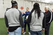 23 March 2018; Two-time Superbowl winning coach, Rob Ryan, Seattle Seahawks' Earl Thomas, New York Giants' Landon Collins and Baltimore Ravens' Alex Collins, touched down in Dublin today for the NFL UK Live event, presented by Subway®. As part of their visit, Earl, Landon and Alex – accompanied by Rob Ryan and the Vince Lombardi trophy – put their athleticism to the test today at Dublin's Clanna Gael Fontenoy GAA Club, where hurling legend Jackie Tyrell, and Dublin football legend attempted to teach them the skills of our national sports. The NFL UK Live event, presented by Subway®, will take place tomorrow (Saturday, 24th March) at Dublin's Convention Centre – where Rob, Earl, Landon and Alex will also be joined by the Philadelphia Eagles' Jay Ajayi for an evening of entertainment, hosted by Sky Sports presenter, Neil Reynolds. Doors for the event open at 6pm, with the live show kicking off at 7.30pm. Tickets for the event, which are free-of-charge, are available at: www.nfluk.com/events/Dublin.html . Pictured are, from left, Landon Collins of the New York Giants, former Dublin footballer Mossy Quinn, Alex Collins of the Baltimore Ravens, and two-time Superbowl winning coach Rob Ryan at Clanna Gael Fontenoy GAA Club, Irishtown, Dublin. Photo by Brendan Moran/Sportsfile