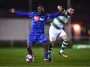 23 March 2018; Stanley Aborah of Waterford in action against Brandon Miele of Shamrock Rovers during the SSE Airtricity League Premier Division match between Waterford and Shamrock Rovers at the RSC in Waterford.  Photo by Seb Daly/Sportsfile