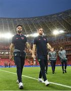 23 March 2018; Cyrus Christie, left, and Alex Pearce of Republic of Ireland prior to the International Friendly match between Turkey and Republic of Ireland at Antalya Stadium in Antalya, Turkey. Photo by Stephen McCarthy/Sportsfile