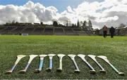 24 March 2018; A general view of the Camogie sticks before the AIB All-Ireland Senior Club Camogie Final match between Sarsfields and Slaughtneil at St Tiernach's Park in Clones, Monaghan.  Photo by Oliver McVeigh/Sportsfile