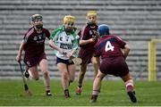 24 March 2018; Siobhan McGrath of Sarsfields in action against Dervlagh McGuigan of Slaughtneil during the AIB All-Ireland Senior Club Camogie Final match between Sarsfields and Slaughtneil at St Tiernach's Park in Clones, Monaghan. Photo by Oliver McVeigh/Sportsfile