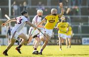 24 March 2018; Rory O'Connor of Wexford in action against Joseph Cooney, left, and Joe Canning of Galway during the Allianz Hurling League Division 1 quarter-final match between Wexford and Galway at Innovate Wexford Park in Wexford. Photo by Sam Barnes/Sportsfile