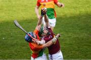 24 March 2018; Darragh Clinton of Westmeath in action against Eoin Nolan of Carlow during the Allianz Hurling League Division 2A Final match between Westmeath and Carlow at O'Moore Park in Portlaoise, Laois. Photo by Piaras Ó Mídheach/Sportsfile
