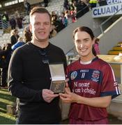 24 March 2018; Tina Hannon of Slaughtneil receives her player of the match award from Patrick Somers of AIB after the AIB All-Ireland Senior Club Camogie Final match between Sarsfields and Slaughtneil at St Tiernach's Park in Clones, Monaghan. Photo by Oliver McVeigh/Sportsfile